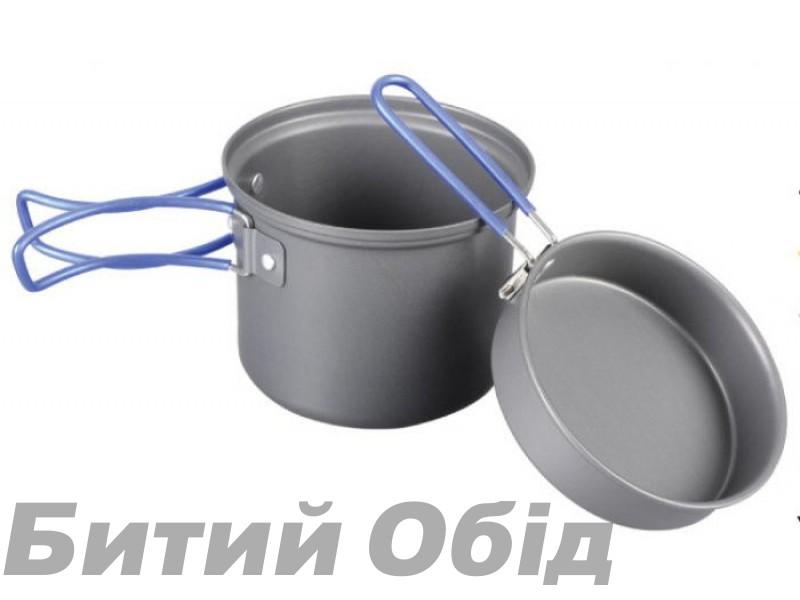 Кастрюля-кружка 0,9 л. анодированная с крышкой-сковородкой Tramp TRC-039