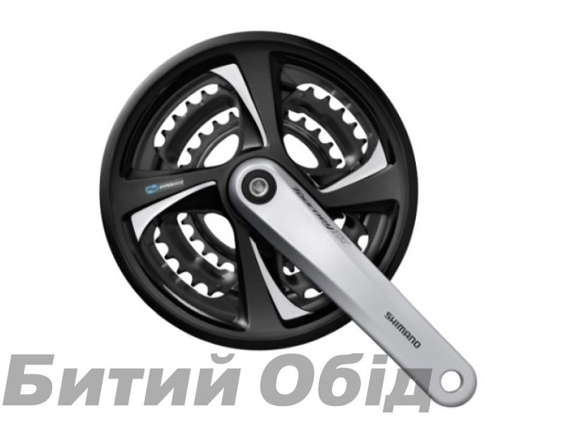 Шатуны Shimano FC-TX801 TOURNEY TX 175мм, 42X32X22 серебр, с защитой