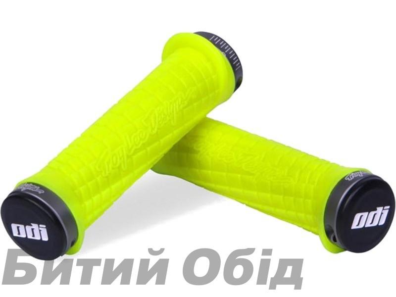 Грипсы ODI Troy Lee Designs Signature MTB Lock-On Bonus Pack Yellow w/Graphite Clamps (желтые с графитовым замком) фото, купить, киев, запорожье