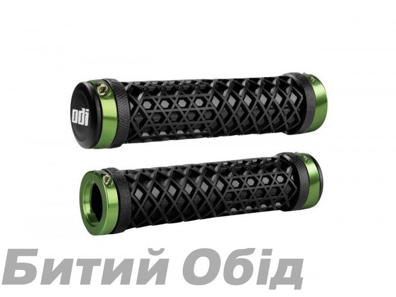 Грипсы ODI Vans® Lock-On Grips, Black w/ Green Clamps (черные с зелеными замками) фото, купить, киев, запорожье