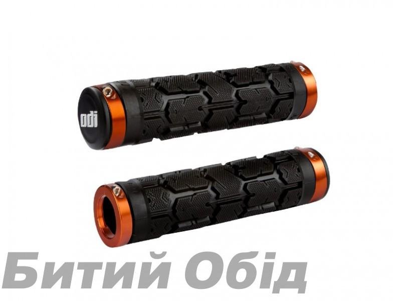 Грипсы ODI Rogue MTB Lock-On Bonus Pack Black w/Orange Clamps (черные с оранжевыми замками)