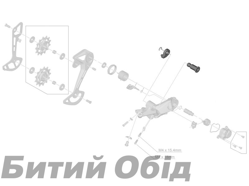 Блок кронштейна оси Shimano RD-M6100