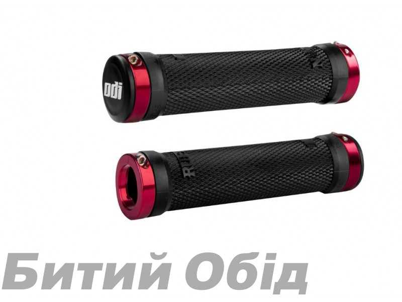 Грипсы ODI Ruffian MTB Lock-On Bonus Pack Black w/Red Clamps (черные с красными замками)