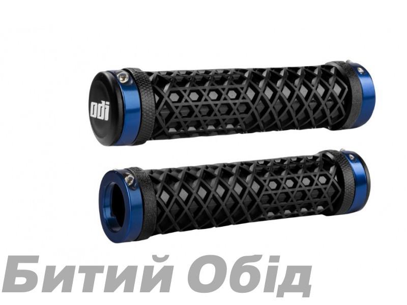 Грипсы ODI Vans® Lock-On Grips, Black w/ Blue Clamps, черные с синими замками