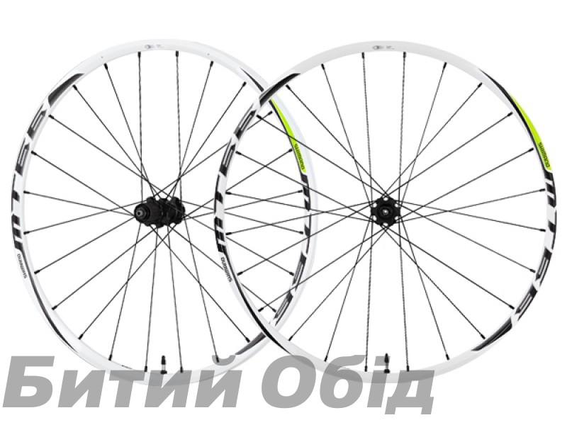 Колеса Shimano WH-MT66 26 переднее + заднее, бескамерные, для диск торм, белые/зелен CENTER LOCK