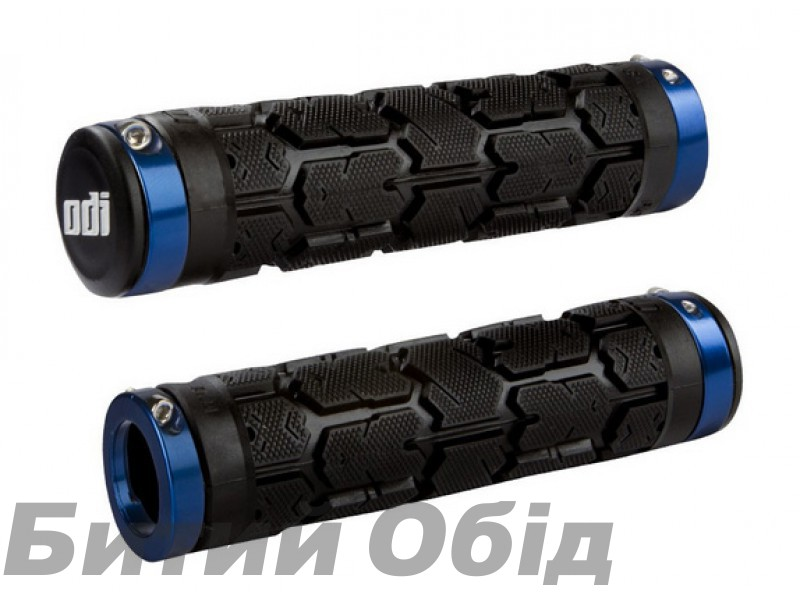 Грипсы ODI Rogue MTB Lock-On Bonus Pack Black w/Blue Clamps (черные с синими замками)