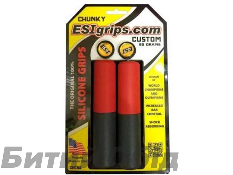 Грипсы ESI Chunky Custom (красно-черные) фото, купить, киев, запорожье