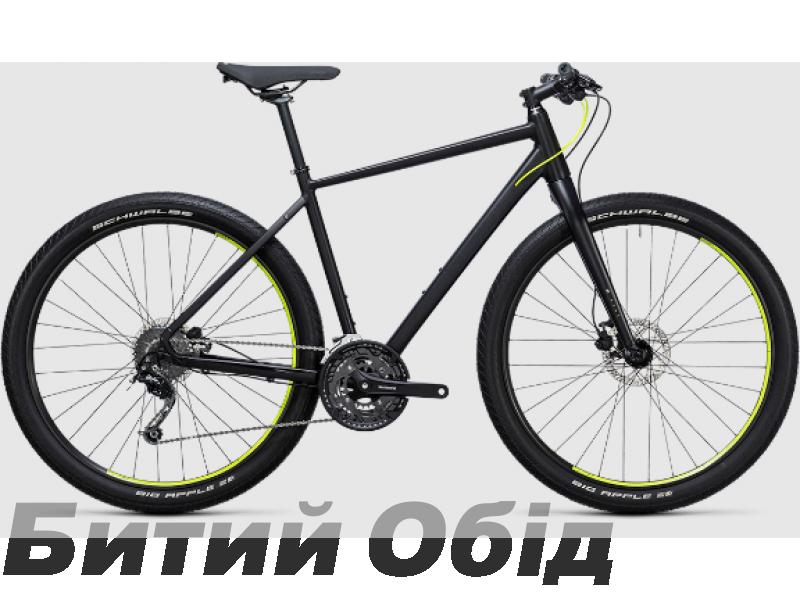 Велосипед Cube Hyde (black´n´flashyellow) 2017 год фото, купить, киев, запорожье